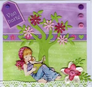 Een lentekaart met frisse kleuren.